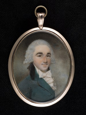 Portrait miniature of a Gentleman, wearing green coat with black collar and white frilled shirt, Henry Edridge